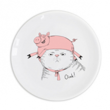 "Taldrik kingituseks Cat in a pig hat ""Oink!"""